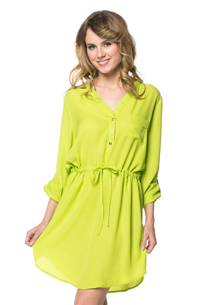 KANDICE SHIRT DRESS - LIME-