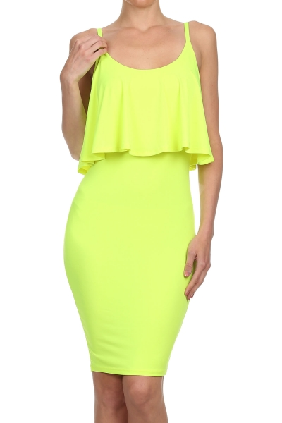 KARLA RUFFLE DRESS - LIME-