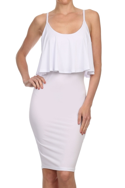 KARLA RUFFLE DRESS - WHITE-