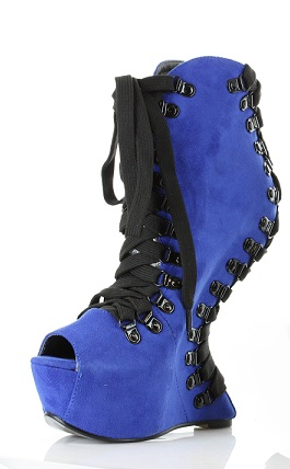 KATINA HEELLESS WEDGE - BLUE-