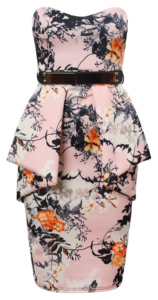 KOURTNEY PEPLUM FLORAL DRESS-