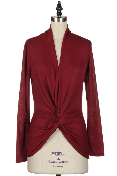 KRISTINA TWIST TOP - BURGUNDY-