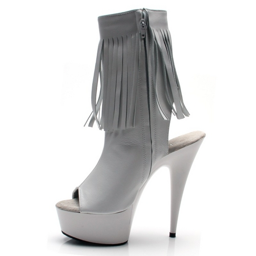 KRYSTAL LEATHER FRINGE ANKLE BOOTS - WHITE-