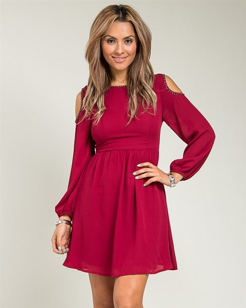 LEXI PEEP SHOULDER DRESS-