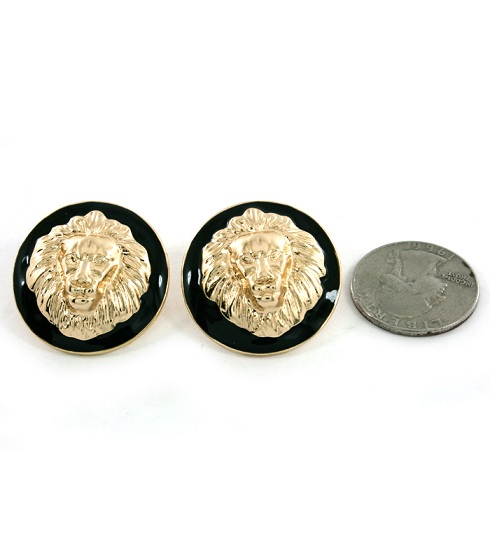 LIONESS EARRINGS - CIRCLE GOLD-