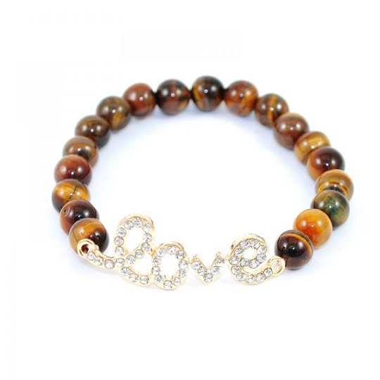 LOVE BEADED BRACELET - BROWN/GOLD-