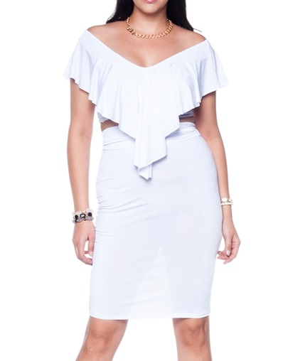 MARIAH BODYCON CROP TOP AND SKIRT - WHITE PLUS SIZE (PRE-ORDER)-