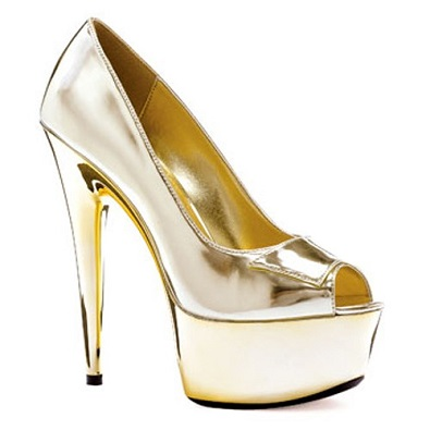 SHINY PEEP TOE PUMPS - GOLD-609-SHINE
