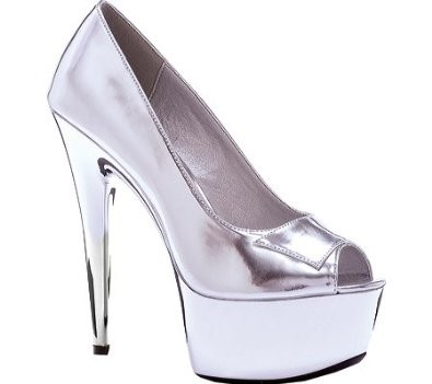SHINY PEEP TOE PUMPS - SILVER-609-SHINE