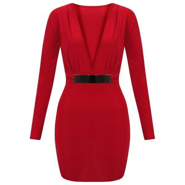 MIMI BELTED MINI DRESS - RED-