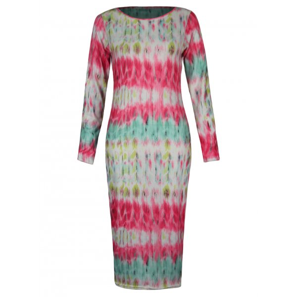 MULTICOLOR TYE DYE STRIPED KNEE LENGTH DRESS-