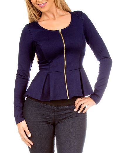 NAVY PEPLUM ZIP-UP TOP-
