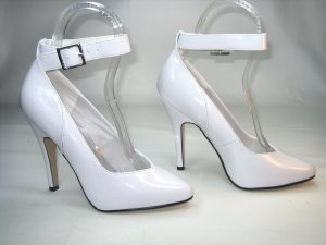 NEVAEH ANKLE STRAP PUMPS - WHITE-