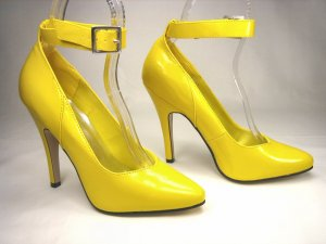 NEVAEH ANKLE STRAP PUMPS - YELLOW-