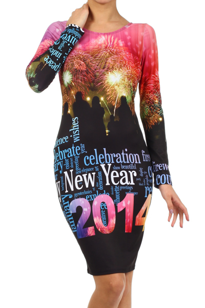 NEW YEARS GRAPHIC  DRESS (PREORDER)-