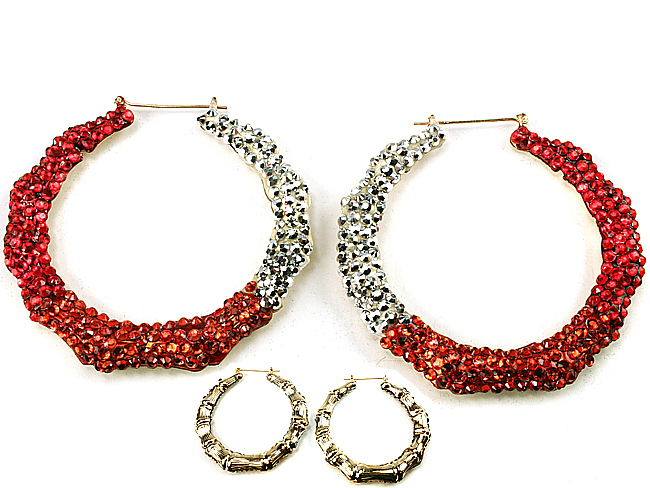 ORANGE HOOPS-ORANGE, HOOP, EARRING, GLITZY