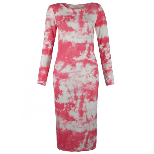 PINK/WHITE TYE DYE KNEE LENGTH DRESS-