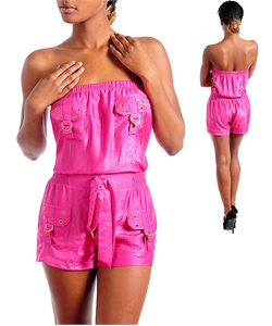 HAUTE PINK & GOLD SHORTS JUMPER-pink, jumper, shorts, pant, pink, gold, tube