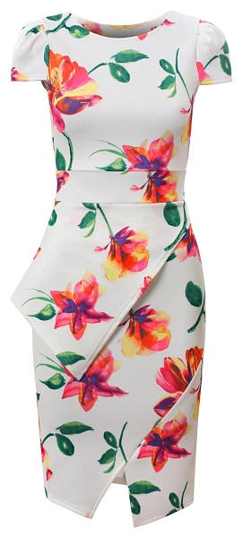 PORSHA FLORAL DRESS - WHITE-