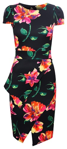 PORSHA FLORAL DRESS - BLACK-