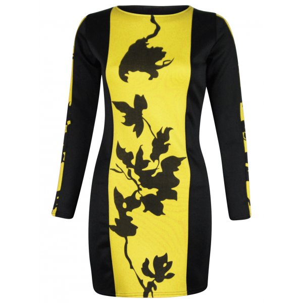 QUEEN BEE BODYCON DRESS - YELLOW-