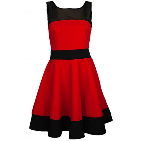 RED/BLACK SKATER DRESS-