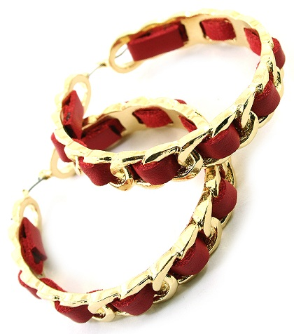 RED/GOLD LEATHERETTE CHAINLINK HOOP EARRINGS-