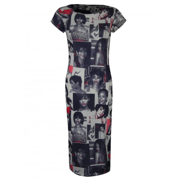 RIHANNA PHOTO PRINT SS KNEE LENGTH DRESS-