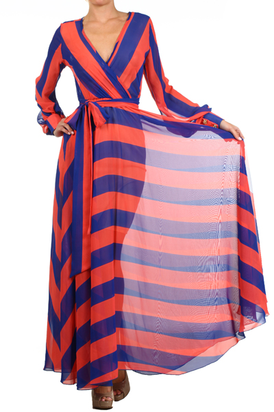 SAHARA CRUISE MAXI DRESS - CORAL/BLUE (PRE-ORDER)-