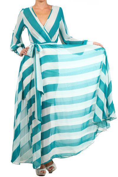 SAHARA CRUISE MAXI DRESS - TEAL/WHITE-