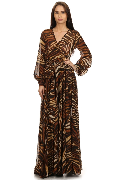 SAHARA CRUISE MAXI DRESS - TIGER PRINT-