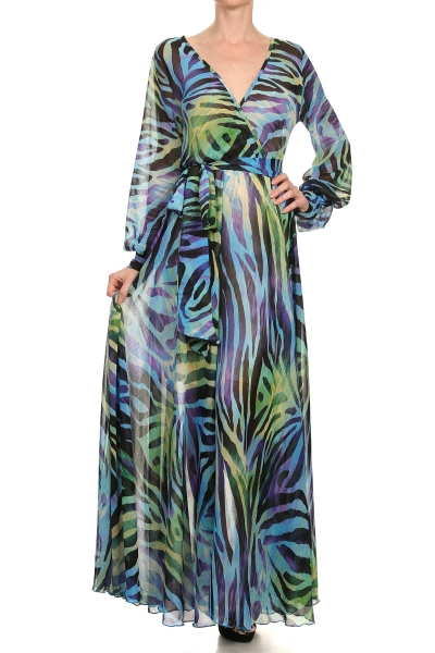 SAHARA CRUISE MAXI DRESS - COLORFUL TIGER PRINT-