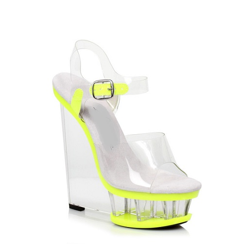 SHANDRA WEDGE - LIME-
