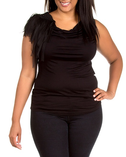 ONE SHOULDER SHEARED TOP - BLACK - PLUS SIZE-