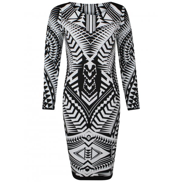 SKYLAR KNEE LENGTH DRESS - WHITE/BLACK (PRE-ORDER)-