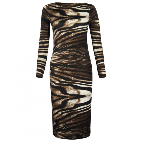 SONIA TIGER SWIRL LS DRESS - BROWN-