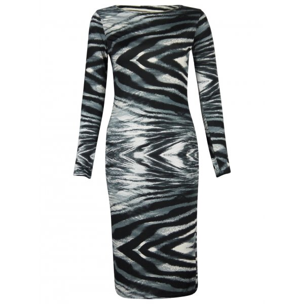 SONIA TIGER SWIRL LS DRESS - GREY-
