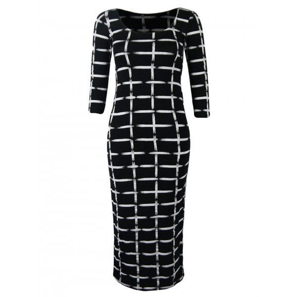 SQUARES MONOCHROME KNEE LENGTH DRESS-