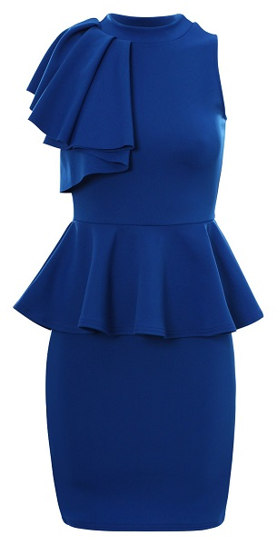 TAYLOR PEPLUM DRESS - BLUE-