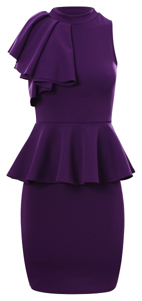 TAYLOR PEPLUM DRESS - PURPLE-