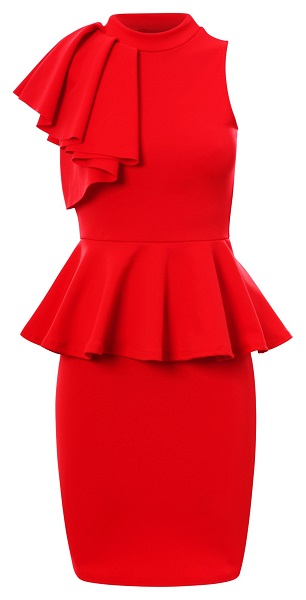 TAYLOR PEPLUM DRESS - RED-