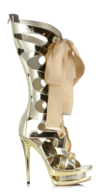 TEARA METALLIC BOOTS - GOLD-