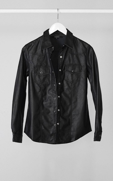 VEGAN LEATHER SHIRT - BLACK-