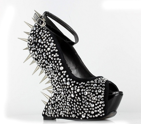 VIOLET SPIKED HEEL-LESS WEDGE-