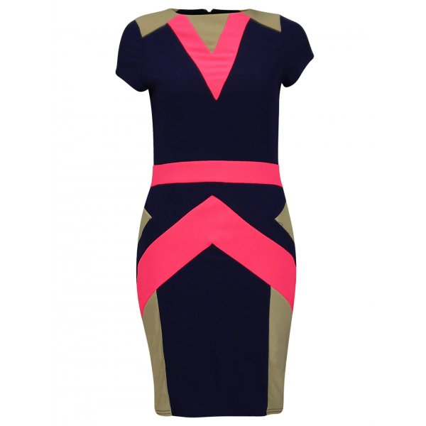 ZARIA  DRESS - NAVY-