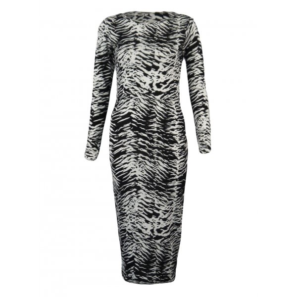 ZEBRA PRINT LONG SLEEVE KNEE LENGTH DRESS-