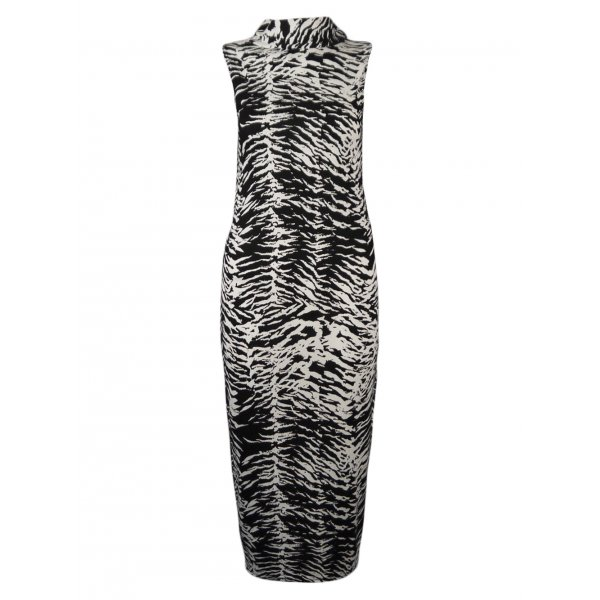 ZEBRA PRINT SLEEVELESS KNEE LENGTH DRESS-