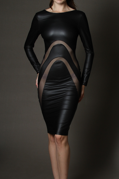 AMANDA FAUX LEATHER DRESS-
