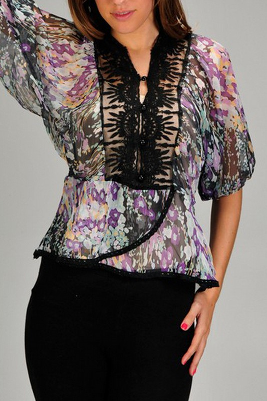 AMAYA TUNIC BLOUSE-SHEER, BLOUSE, TOP, PURPLE