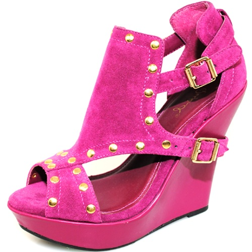 BERRY & GOLD FASHION WEDGES-pink, gold, wedge, shoe, pump, heel